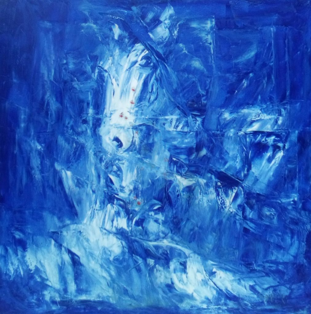 Horse Riding in Blue - Abstract Art